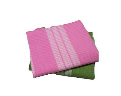 Cotton Colors - 2 Striped Bath Towels - Standard Towel (60 * 30) (Super Water Absorbent, Very Thin, Light Weight, Soft & Easy to Dry)_D176