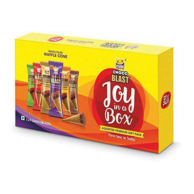 Pure Temptation Joy in a Box Assorted Delicious Flavoured Chocolate Fills Waffle Cones (Each Pack Contains 7 Pcs) - Set of 10