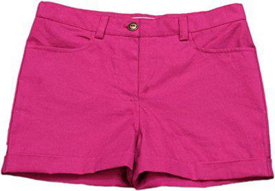 MyLittleLambs Short for Girls Solid Cotton Linen Blend, 100% Cotton (Hot Pink, 12 Years)