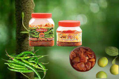 Lion Brand Natural Green Chilly Pickle 1kg and Special Khatta Nimbu Pickle 500gm