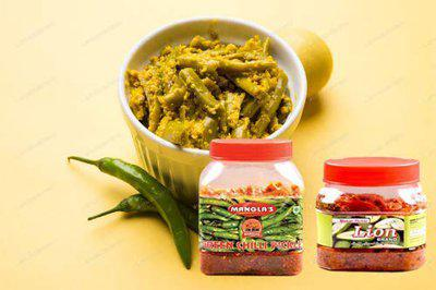 Lion Brand Natural Green Chilly Pickle 1kg and Special Mango Pickle 500gm