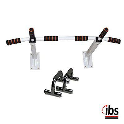 IBS Heavy Duty Chin up Bar/Pull up Bar for Multiple Body Strength Exercise .with Push up Bar Home and Gym (Color- White/Black)-
