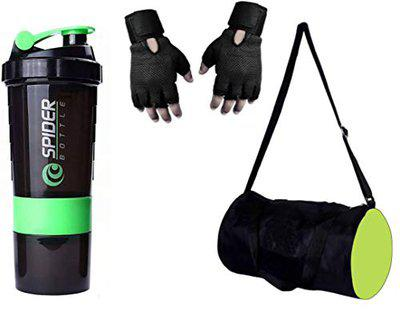 S.Blaze Combo of Gym Accessories, Green Gym Bag + Black Gym Gloves + 500ml Geen Spider Gym Bottle for Men's/Women's/Boy's/Girl's