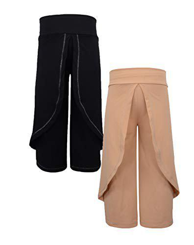 Lil Orchids Girls Pack of 2 Black and Beige Color Harem Pant(LO-2PCK-HARM-PANT-CMB-1-2-3Y_Multi_2-3Y)