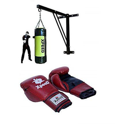 XPEED Full Boxing Kit Filled Punch Bag 4ft. for Kickboxing MMA Training Leather Gloves