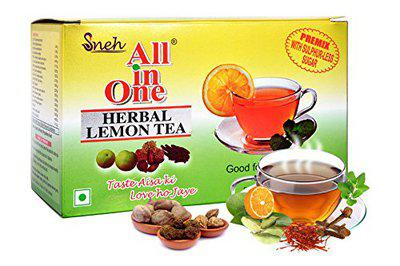 All in One Herbal Lemon Tea Premix with Sulphur Less Sugar(25 Pouches)