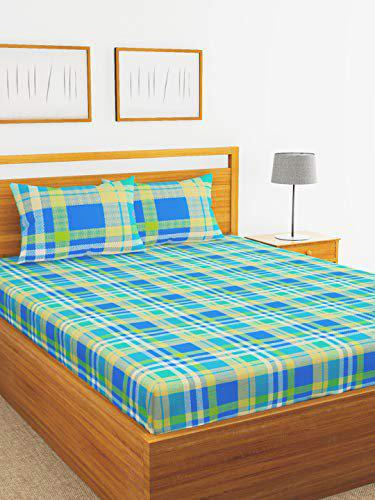 BIANCA 144Tc 100% Cotton Double Bedsheet with 2 Pillow Cover - Mercerized Finish -3pc Set- (Essenza) Check-Green/Blue