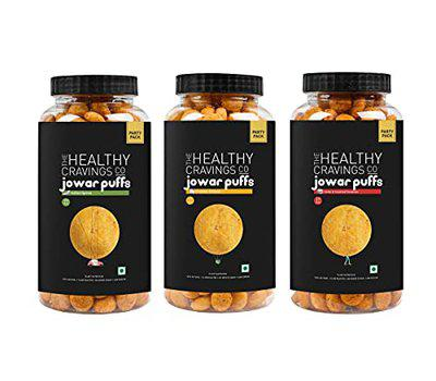 The Healthy Cravings Co - Snack Jars - Slow Roasted Jowar Puffs - Indian Spices + Cheddar Cheese + Herbs & Sundried Tomatoes Flavor (150g x 3)