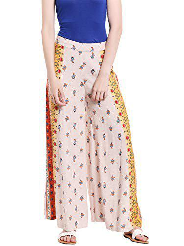 Fusion Beats Beige Floral Print Palazzos