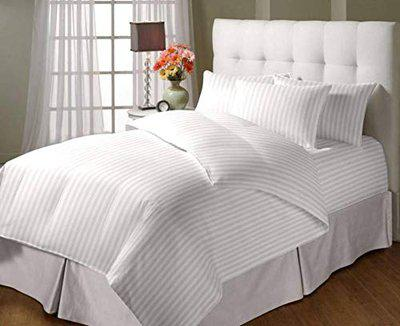Jaipur Linen Double Bed Classic All Season Microfibre Duvet with Cotton Stripes Cover - 90 Inch X 100 Inch, White
