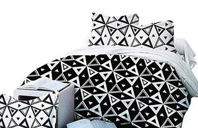 The Home Talk 150TC Black and White bedsheet, 230x250 cm, Triangles Design- Double Bed with 2 Pillow Covers Black&White