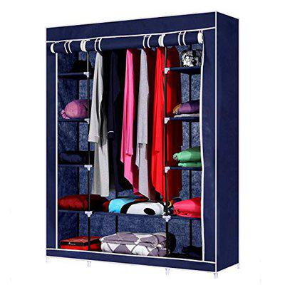 House of Quirk 70 Portable Clothes Closet Home Wardrobe Clothes Storage Organizer with 12 Shelves - (Blue)
