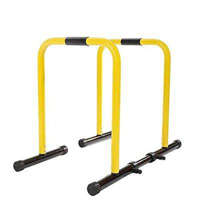 IBS Functional Exercise Station Stabilizer dip stand station with stabilizing challenger bars is perfect for full body bodyweight resistance exercises such as dips, push and pull ups, l-sits, knee and leg raises, stretches Dip Bar Color Yellow (With Multicolour Foam)