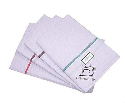 Mylooms Hemmed Pure Cotton Small Size Kerala Bath Towels/Thorthu for Regular Use | Pack of 4 (Endfinished-Small 44'X22')