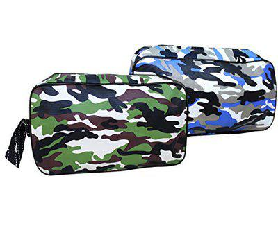 TIED RIBBONS Set of 2 Toiletry Shaving Kit Pouch Bag for Men Travel Organizer Bag (24 cm X 16 cm, Multicolor)