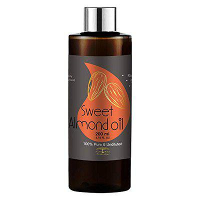 All Naturals Sweet Almond Oil 200ml - Cold Pressed (Himachal Pradesh) Carrier Oil Pure & Undiluted for Dry Skin, Dark Circles, Eyelashes, Nails, Massages, Suits Most Skin Types