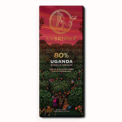Ambriona Uganda Single Origin 80% Dark Chocolate - Keto Friendly Vegan and Gluten Free