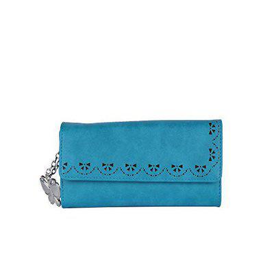 Butterflies Women Blue Artificial Leather Wallet 6 Card Slots
