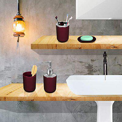 Story@Home Bathroom Accessories Set (4 Piece) with Toothbrush Holder, Liquid Bottle Dispenser, Soap Dish and Tumbler (PVC), Maroon