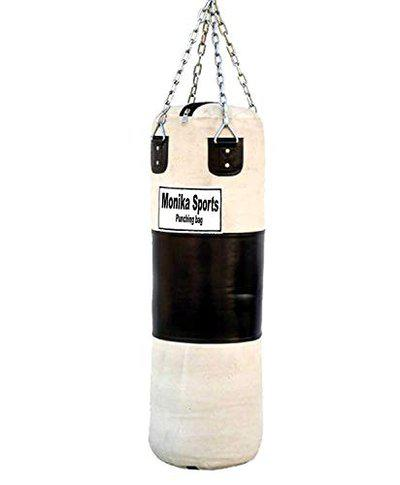 Monika Sports White Black Unfilled Extra Heavy Canvas Punching Bag with Chain (3Ft)