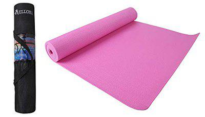 VELLORA Yoga Mat Anti Skid Yogamat for Gym Workout and Flooring Exercise - Long Size Yoga Mate for Men Women (Pink-5MM) with Cover
