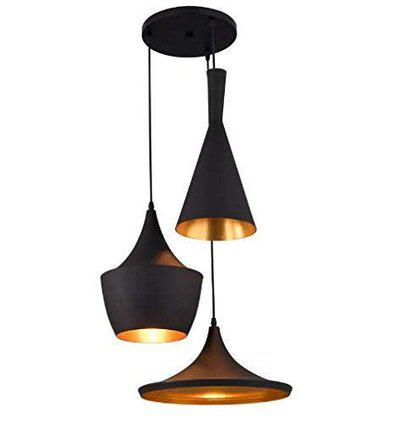 Weldecor 3-Light Industrial Black Finish Metal Shade Tulip Cone Disc Hanging Pendant Ceiling Lamp Fixture (Bulb not Included)