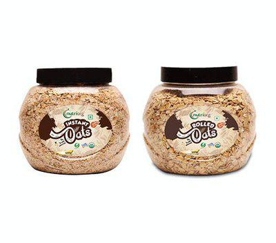 Nutriorg Organic Rolled and Instant Oats, 500g (Combo of 2) | USDA Certified | Made from 100 Organic Produce | Weight Management | High Fiber and Protein Rich Oats
