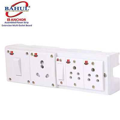 BAHUL Anchor Assembled Board Contains 2 Anchor Sockets(5 Amp) 1 Anchor Switch(5 Amp)1 Anchor Switch(13 Amp)1 Sockets(13 Amp) with 4 Metre Chord Surge Protector (White)