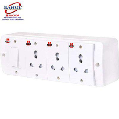 BAHUL Anchor Assembled Board Contains 1 Anchor Switch(13 Amp)3 Sockets(13 Amp) with 4 Metre Chord Surge Protector (White)
