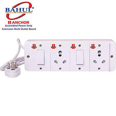 BAHUL Anchor Assembled Board Contains 2 Anchor Switch(13 Amp)2 Sockets(13 Amp) with 4 Metre Chord Surge Protector (White)