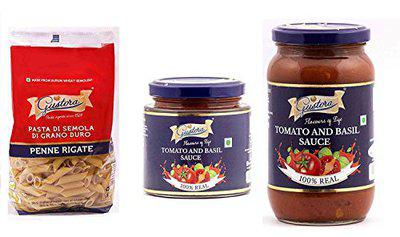 Gustora Combo Pack of Pasta Penne 500g and Tomato Basil Sauce 200g & 400g