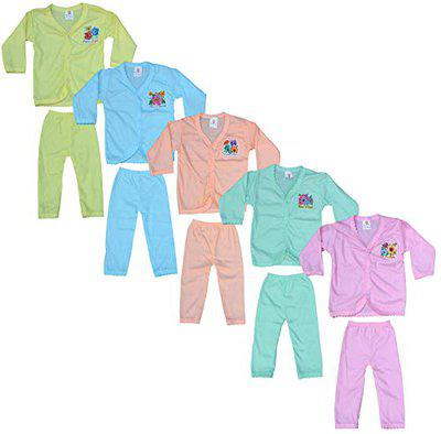 Eazy Trendz Fashion Thinnest Pu Feel Baby Boys and Baby Girls Unisex Fabulous Collecion of Floral Printed Button Full Sleeve Top & Bottom (Set of 5)(Age 0 to 12 Months)
