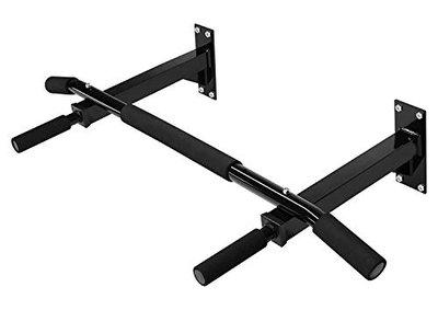 VR RV Iron Pull and Chin Up Bar, Wall Mounted Home Gym Exercise Workout Equipment, Regular Size, Black