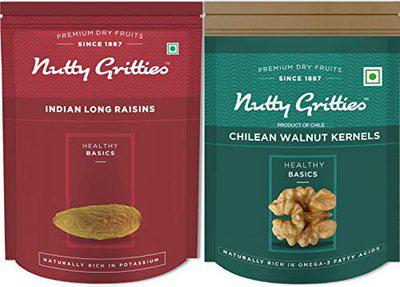 Nutty Gritties Chilean Walnuts Kernels and Raisins Combo(200 GMS Each), 400g