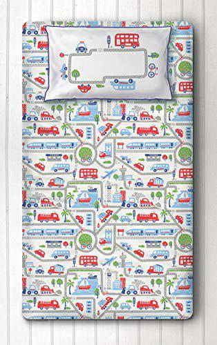 Silverlinen Busy Street Cotton 250 TC Single Bedsheet for Kids Room with One Pillow Cover ( Multicolour)