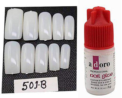 Ear Lobe & Accessories 10 Pieces Personal Professional Reusable False French Nails with Glue (501B)
