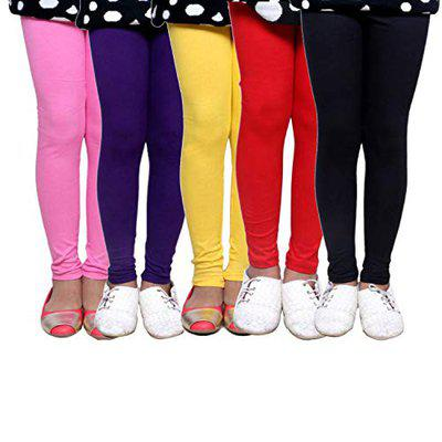 Mia Fashion Cotton Plain Ankle Length Leggings for Kids/Girls| Extra Soft|Elastic Closure|(Pack of 5)|(Size - 3-4Years)
