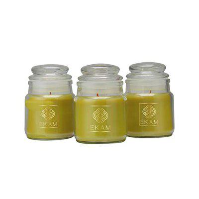 EKAM Cookie Jar Scented Candle - Fragrance Lemongrass | Pack of 3 | Net Weight 85gms Each | Burn Time 18hrs Each