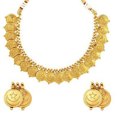 Shining Jewel 22K Traditional Chand Tara Gold Coin Necklace Set for Women (SJ_2699)