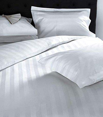 INDICUM Premium 300TC Cotton Bedsheet with 2 Pillow Covers - Striped, King Size, White