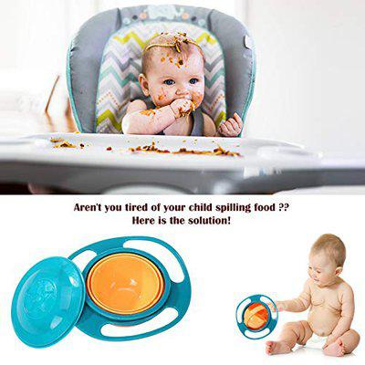 Safe-O-Kid 2 No Spill Gyro Bowls for Baby and Kids, 360 Degree Rotation Spill Proof Food Bowl, Orange and Green- Pack of 2