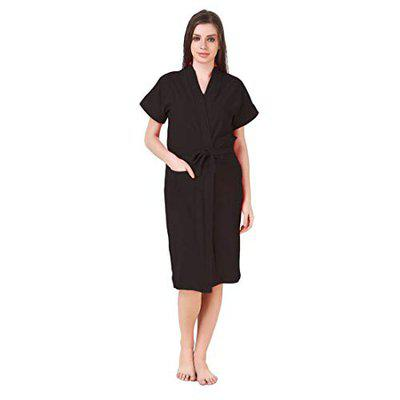 Poorak Cotton Half Sleeves Bathrobe for Women- Solid Pattern - Free Size fit Upto 42 inches-Black