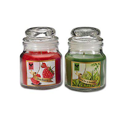 IRIS Aromatic Jar Candles Combo with Green Tea Bamboo and Dewberry Fragrances
