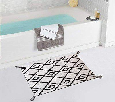 The Home Talk Cotton Bath mat Rug with Tassels, Moroccan Design (60 x 90 cm, Natural and Brown)
