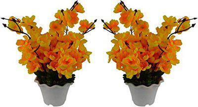 PARADISE Enterprises Artificial Cherry Blossom Flowers (Size 12 inchs/ 30 cms) with Pot (Yellow)