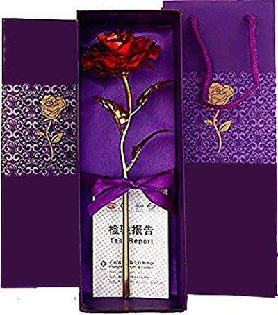 Lavanaya Silver Artificial 24 Karat Gold Rose Flower with Gift Box (Red, 10-inches)