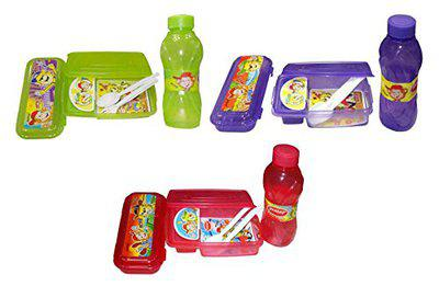 Kotak Sales Happy Time Junior Kids 3IN1 Set of Lunchbox Water Bottle Compass with Spoon Ford Food Grade BPA Free for Birthday (Set of 3)