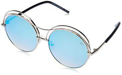 FCUK Mirrored Round Women's Sunglasses - (FC 7428 C4 58 S|58|Blue Color Lens)
