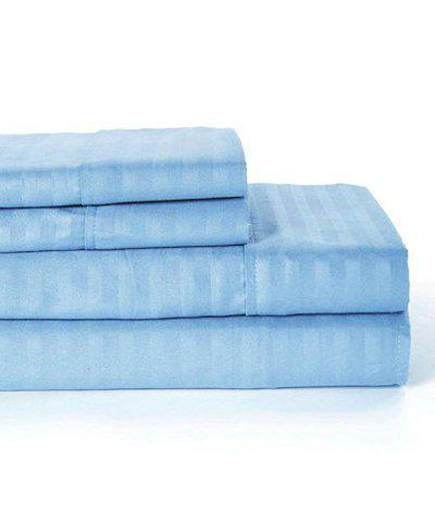 Linenovation Premium 100% Cotton 300 TC Single Fitted Bedsheet 36x78 with 1 Pillow Cover (Sky Blue)