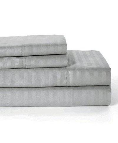 Linenovation Premium 100% Cotton 300 TC Single Fitted Bedsheet 36x78 with 1 Pillow Cover (Grey)